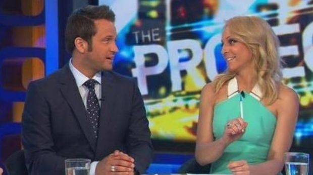 Different beat: Carrie Bickmore, who recently announced her pregnancy on The Project, gets in the spirit of things.