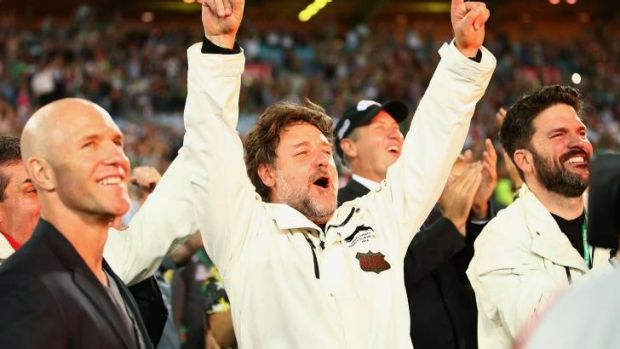 Hollywood royalty: Rabbitohs co-owner Russell Crowe.