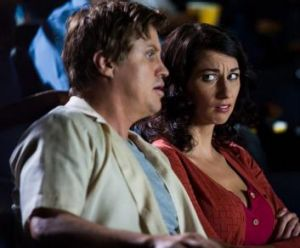 Wary woman: Dan Wyllie (Kane) and Veronica Milsom (Sue) in season two of <i>It's a Date</i>.