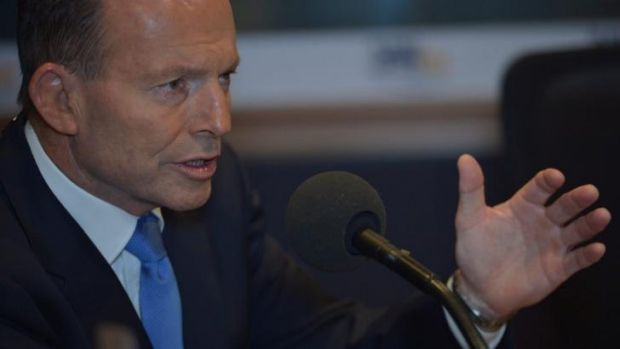 Prime Minister Tony Abbott backs <i>Lateline</i> host Emma Alberici during an interview with 3AW host Neil Mitchell.