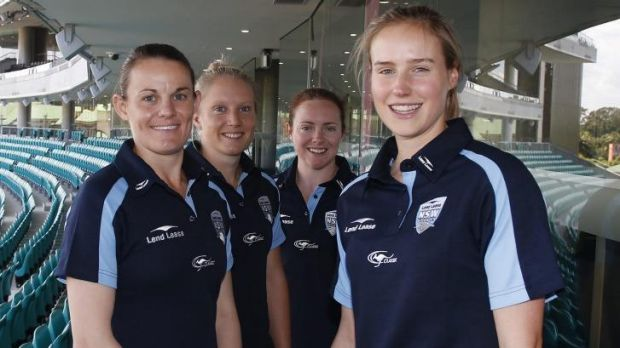 Windfall: Southern Stars Erin Osborne, Alyssa Healy, Sarah Coyte and Ellyse Perry on Thursday.