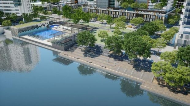 An artist's impression of the urban waterfront park and community swimming pool.