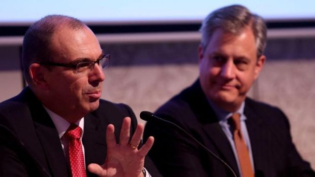 Australian Prudential Regulation Authority chairman Wayne Byres (left) and Westpac chief executive Brian Hartzer.