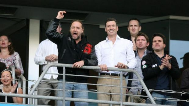South Sydney saviours: Russell Crowe and Peter Holmes a Court.