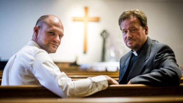 Frank Schaefer with his son Tim, left, at Foundry United Methodist Church in Washington in June.