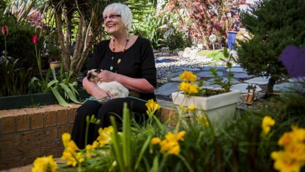 Lyn Goldsworthy only lets her cats into the garden on a leash to protect native birds.