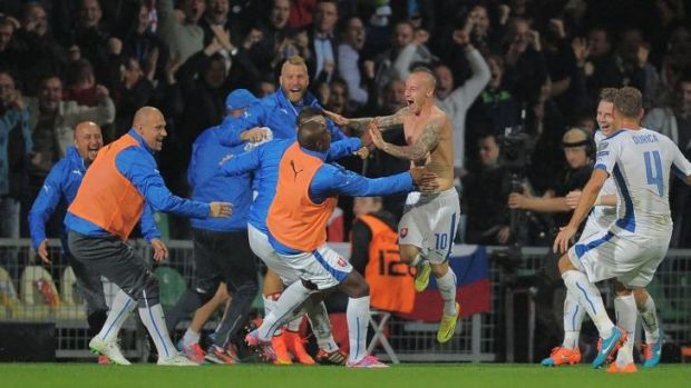 Slovakia's Miroslav Stoch celebrates after scoring what turned out to be the winning goal against Spain on Thursday.