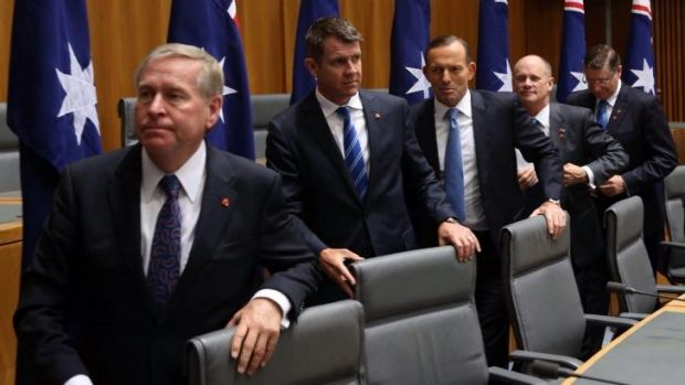 Ready to talk: Tony Abbott with state premiers Colin Barnett (Western Australia), Mike Baird (NSW), Campbell Newman ...