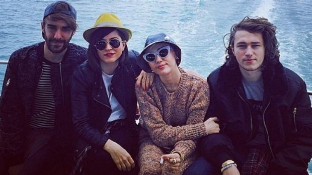 """Miley and Braison Cyrus, together with """"Miley's Jay"""", took in the Auckland harbour before boarding a private jet bound ..."""