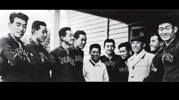 The Japanese rowing eight in 1956.