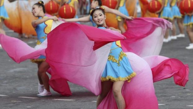 Young dancers perform during National Day celebrations in Taipei, Taiwan on Friday.