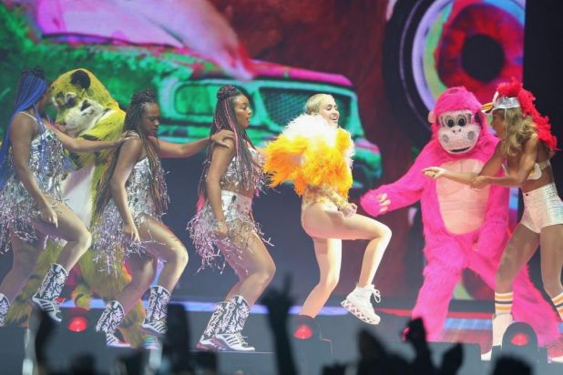Twerkathon: Miley does a dance that has become somewhat synonymous with her name.