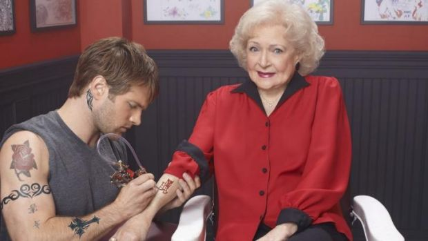 Adventurous: Betty White apparently gets a tattoo in Betty White's <i>Off Their Rockers</i>.