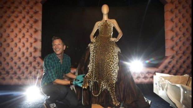 Thierry-Maxime Loriot unpacks a Gaultier leopard skin gown, part of a new NGV exhibition.