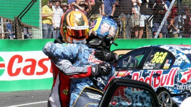 Former teammates: Red Bull Racing's Craig Lowndes embraces Warren Luff after their My Panorama collision.