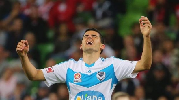Tomas Rogic of Melbourne Victory reacts after missing a shot at goal during the round 21 A-League match against  ...