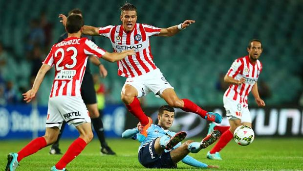 Melbourne City's Erik Paartalu gets in the middle of the action.