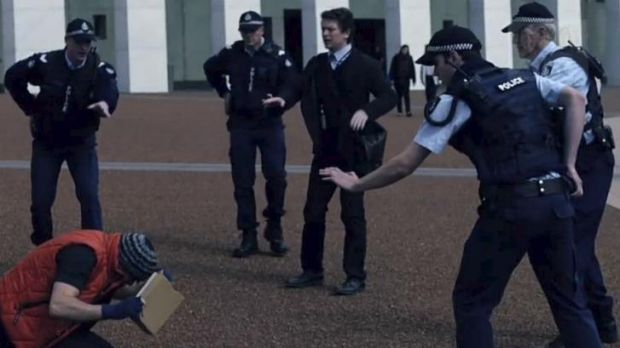 A scene from TV thriller The Code, which was shot in Canberra in September last year.