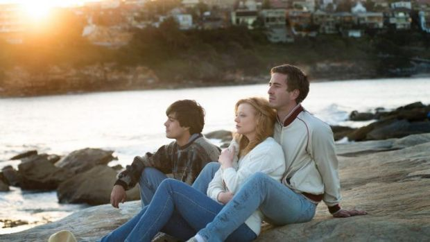 Craig Stott (left), Sarah Snook and Ryan Corr in a scene shot in Clovelly for <i>Holding The Man</i>.