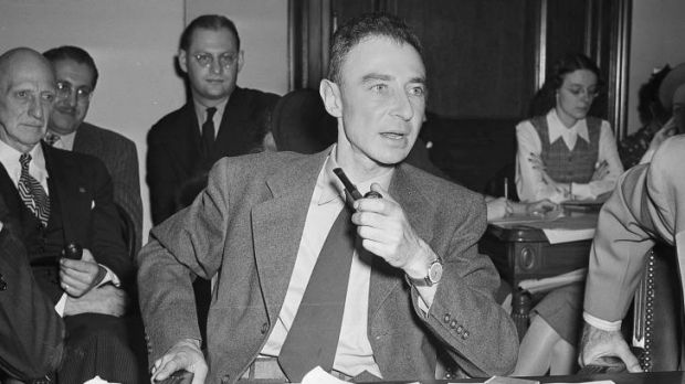 J. Robert Oppenheimer testifies before the Senate Military Affairs Committee in Washington in October 1945, at the ...