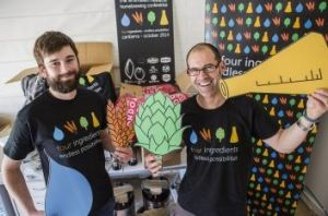 Kevin Hingston, left, and Canberra Brewers president Mark Bilbrough help get ready for the Australian Amateur Brewing ...
