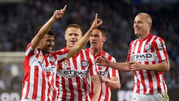 Magic: David VIlla celebrates his first goal for Melbourne City with his teammates on Saturday.