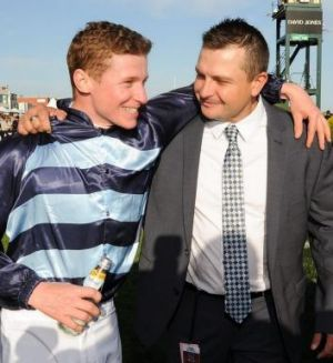 Snowden takes Caulfield Guinneas: Jockey James McDonald poses with trainer Paul Snowden.
