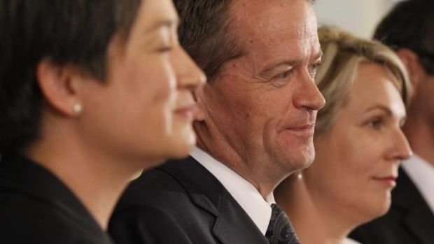 Power line: Penny Wong, Bill Shorten and Tanya Plibersek face the press at Parliament House.