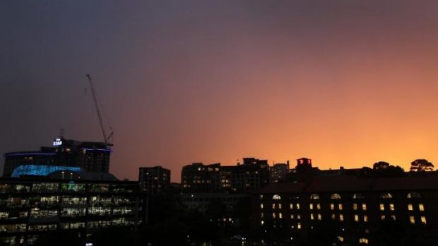 The sky picks up the last rays of sun as the storm front passes Pyrmont at 7pm.