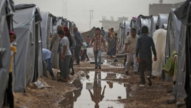 Crisis: A refugee camp in Suruc for Syrian Kurds who have fled Kobane.