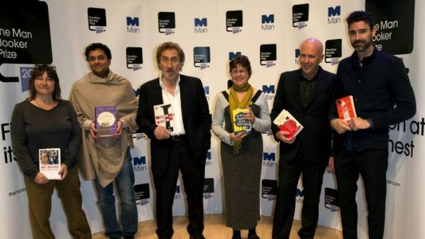Nominees for the 2014 Man Booker Prize, including Australian Richard Flanagan, second from the right.