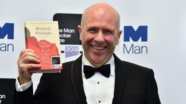 RIchard Flanagan the Man Booker Prize ceremony.