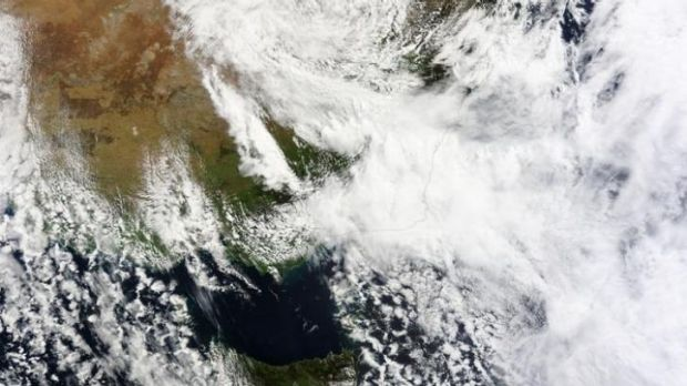 Storm over Sydney - the view from space.