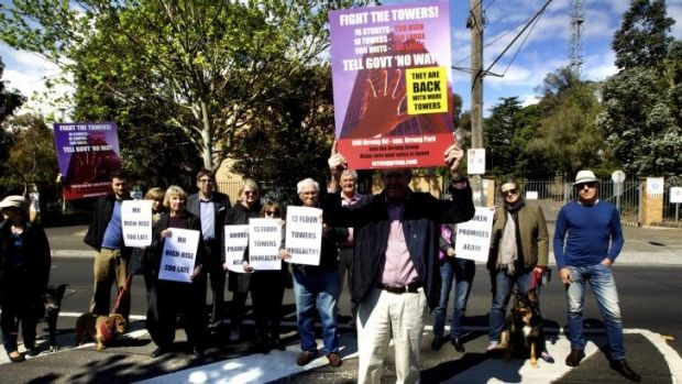 Members of the Orrong Group protest at the site of the proposed development.