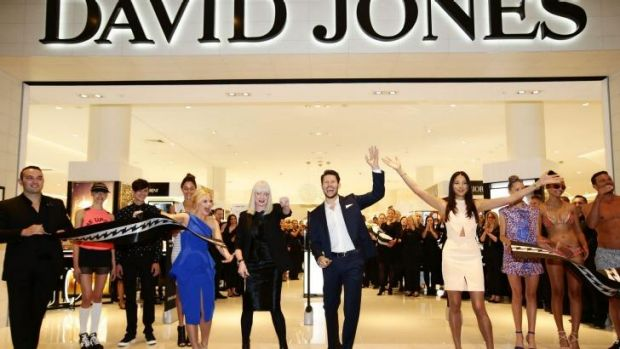 David Jones brand ambassadors Emma Freedman, Jason Dundas and Jessica Gomes along with David Jones group executive for ...
