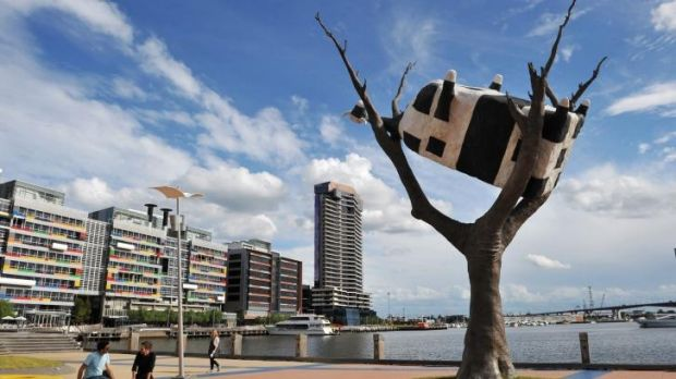 John Kelly's <i>Cow Up a Tree</i> installation, near Melbourne's Docklands.
