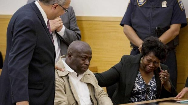 Tears of joy: David McCallum reacts after hearing his conviction was overturned at Brooklyn Supreme Court in Brooklyn, ...