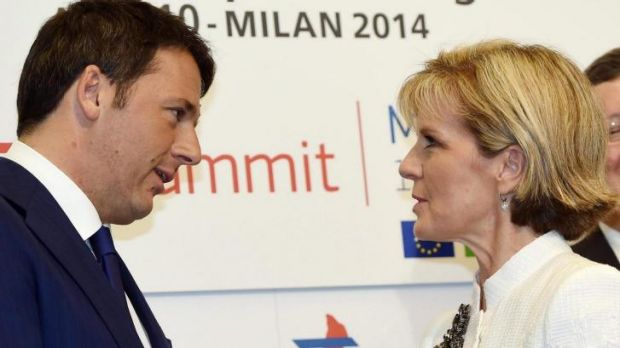 Australian Foreign Minister Julie Bishop (right) is welcomed by Italian Prime Minister Matteo Renzi.