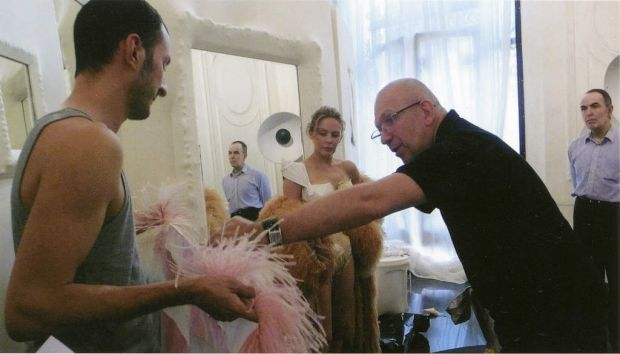 Kylie Minogue and Jean Paul Gaultier during a fitting session at Maison Jean Paul Gaultier in Paris 2009.