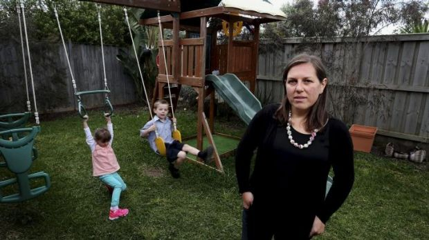 Alice Osborne at her Point Cook home with children Lucy (3) and William (6).