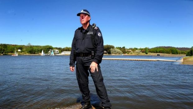 Veteran: Sergeant Allen Le Lievre at the Yarralumla Water Police Base on the edges of Lake Burley Griffin.