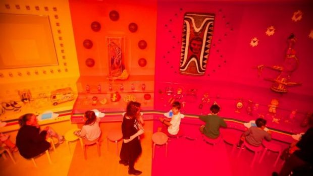 In living colour: Children playing with the digital drawing tools in the Rainbow Room of the <i>Express Yourself: ...