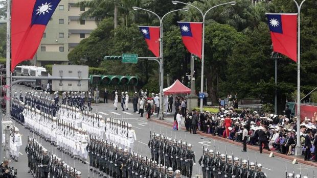 Taiwan is seeking a trade deal with Australia: (pictured) National Day celebrations this month.