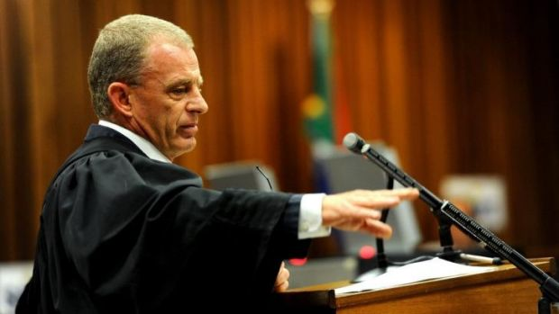 Prosecutor Gerrie Nel is seen during closing arguments in sentencing of South African paralympic athlete Oscar Pistorius.