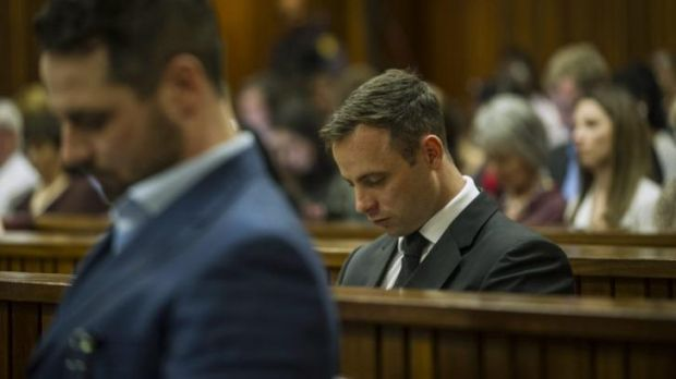 Oscar Pistorius sits in court for the last day of his sentencing.