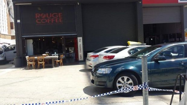 The Roastery Cafe in South Brisbane is declared a crime scene on Friday morning.