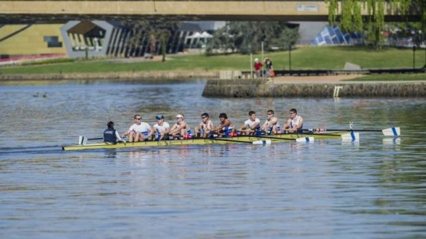 The 44th Disher Cup Regatta: The final race of the day, with the Australian National University Boat club's men's coxed ...