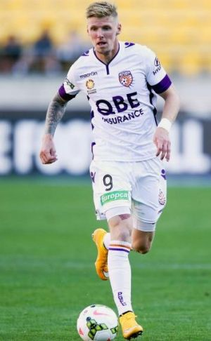 Perth Glory's Andy Keogh in action against Wellington Phoenix last week.