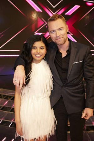 Marlisa Punzalan, X Factor grand finalist, with judge Ronan Keating.