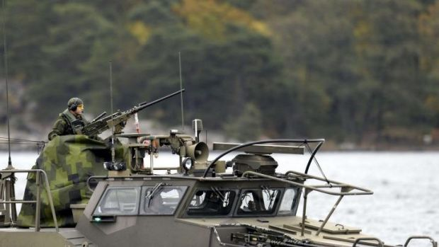 A Swedish Navy fast-attack craft patrols the Stockholm archipelago on Saturday.
